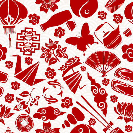 traditional culture: Chinese New Year seamless pattern, concept background with traditional asian culture icons in red color.