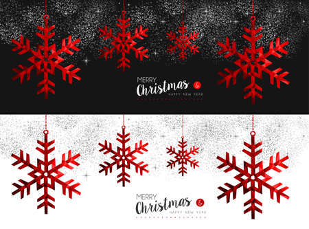 decoration style: Merry christmas and happy new year red winter snowflake in low poly style, holiday decoration for social media cover or card design.