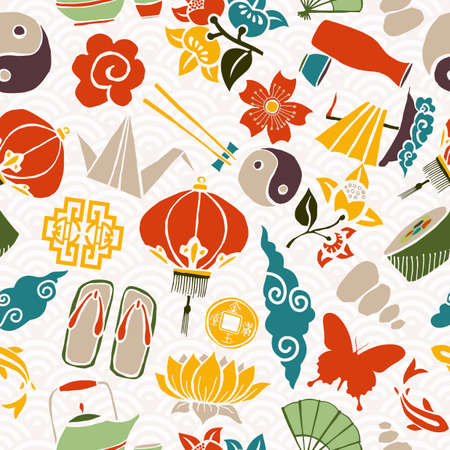 traditional culture: Chinese New Year seamless pattern, concept background with traditional asian culture icons. EPS10 vector.