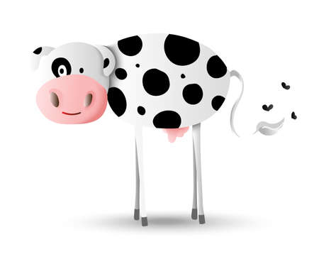 holstein: Cute farm animal cartoon illustration, happy Holstein cow with black spots. Ideal for children or education projects.