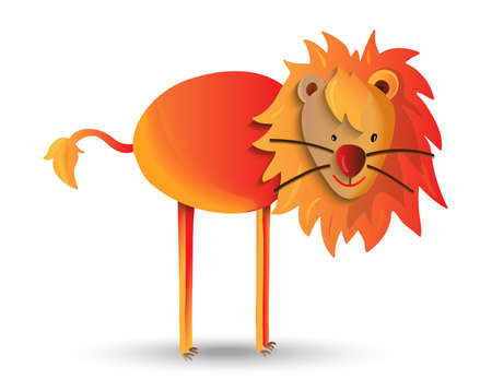 mane: Cute wild animal cartoon illustration, happy jungle lion with mane. Ideal for children or education projects.