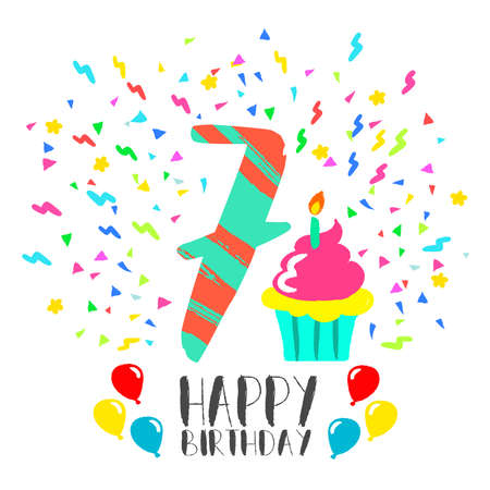 seven years: Happy birthday number 7, greeting card for seven year in fun art style with party confetti and cake. Anniversary invitation, congratulations or celebration design.