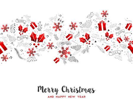 メリーのクリスマスと幸せな新年の装飾パターン。赤の低ポリの休日の装飾品とデザインのグリーティング カード。