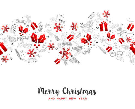 Merry Christmas and Happy New Year decoration pattern. Greeting card design with red low poly holiday ornaments.