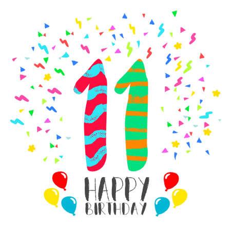 Número 11 del feliz cumpleaños, tarjeta de felicitación durante once años en el estilo del arte de la diversión con confeti partido. invitación del aniversario, felicitaciones o celebración de diseño. Foto de archivo - 66887190