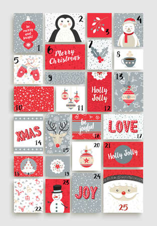 Diseño de calendario de advenimiento de Navidad feliz hecho de tarjetas de estilo retro lindo con felices vacaciones ilustraciones. Foto de archivo - 66887193