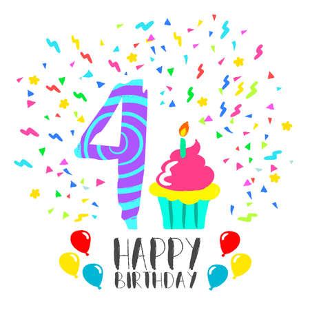 Happy birthday number 4, greeting card for four year in fun art style with party confetti and cake. Anniversary invitation, congratulations or celebration design.