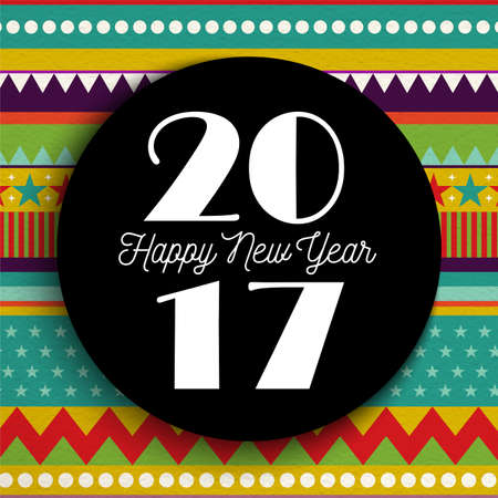 new year celebration: Happy New Year 2017 greeting card design, striped color background with lettering label.
