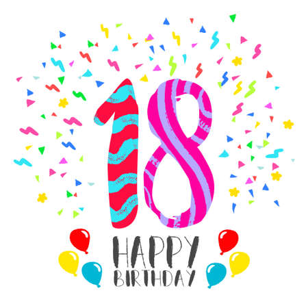 Happy birthday number 18, greeting card for eighteen year in fun art style with party confetti. Anniversary invitation, congratulations or celebration design. Illustration