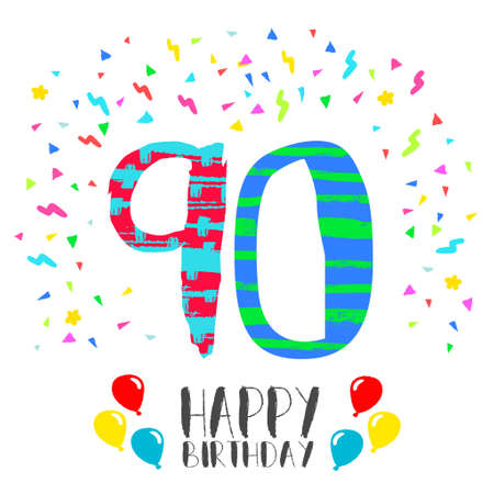 Happy birthday number 90, greeting card for ninety year in fun art style with party confetti. Anniversary invitation, congratulations or celebration design. Illustration