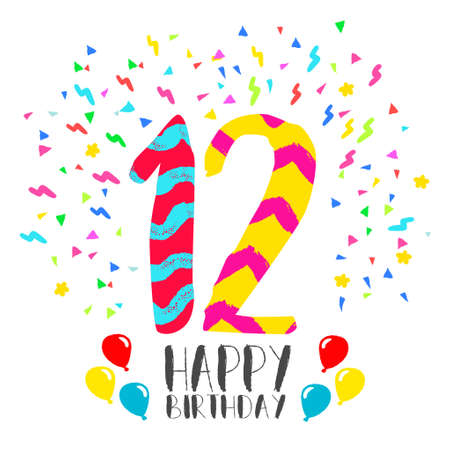 Happy birthday number 12, greeting card for twelve year in fun art style with party confetti. Anniversary invitation, congratulations or celebration design.