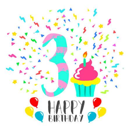 Feliz Cumpleanos Numero 4 Tarjeta De Felicitacion Por Cuatro Anos