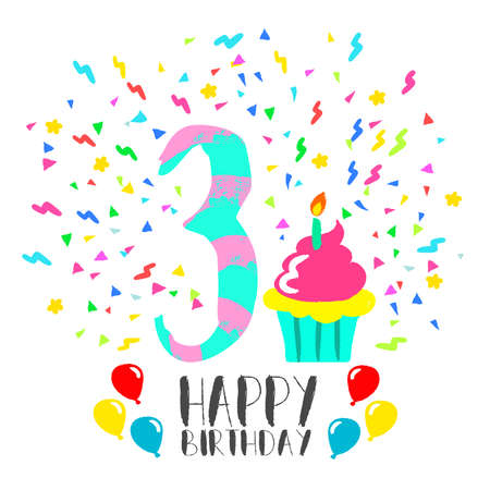 Happy birthday number 3, greeting card for three year in fun art style with party confetti and cake. Anniversary invitation, congratulations or celebration design.