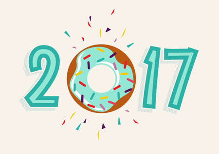 sprinkle: Happy New Year 2017, fun typography design with sweet donut cake element as number.
