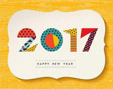 vibrant colors: Happy New Year 2017 greeting card design, holiday quote with fun vibrant colors made of geometric shapes.