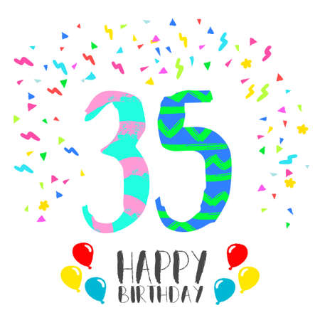 Happy birthday number 35, greeting card for thirty five year in fun art style with party confetti. Anniversary invitation, congratulations or celebration design.