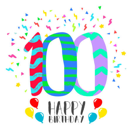 Happy birthday number 100, greeting card for one hundred year in fun art style with party confetti. Anniversary invitation, congratulations or celebration design. Illustration
