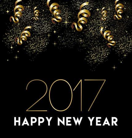 Diseño de tarjeta de felicitación de feliz año nuevo 2017 con confeti de oro y decoración de fiesta de celebración.