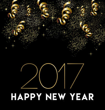 Happy New Year 2017 greeting card design with gold confetti and party celebration decoration.