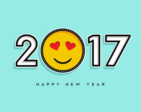 celebration smiley: Happy New Year 2017 greeting card design with trendy stitch patch emoji icon as number.