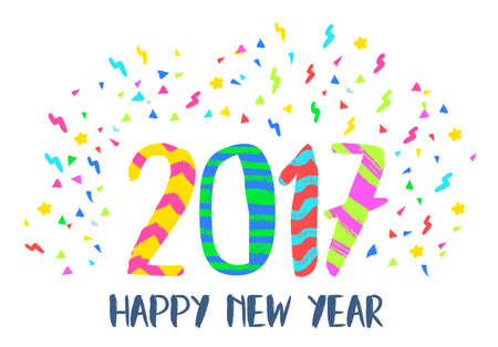 color of year: Happy New Year 2017 illustration, hand drawn vibrant color lettering design with fun party confetti background. Illustration