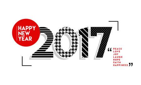 Gelukkig Nieuwjaar 2017, retro ontwerp illustratie met zwarte en witte nummer, tekst citaten.