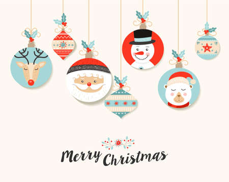 retro christmas: Merry Christmas design with retro holiday decoration. Illustration