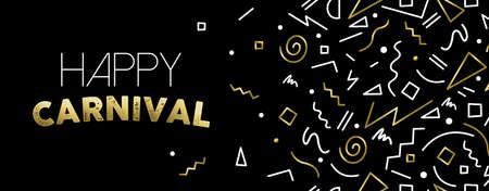 hape: Welcome to carnival illustration, gold party confetti in abstract linear style for social media cover template.
