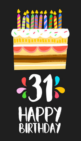 cupcake illustration: Happy birthday number 31, greeting card for thirty one years in fun art style with cake and candles.
