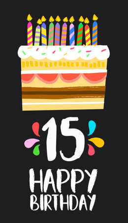 cupcake illustration: Happy birthday number 15, greeting card for fifteen years in fun art style with cake and candles.