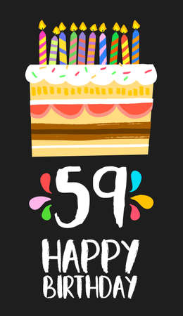 ninth birthday: Happy birthday number 59, greeting card for fifty nine years in fun art style with cake and candles.