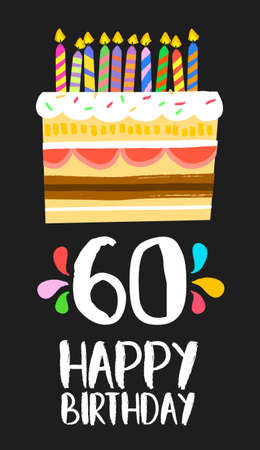 Happy birthday number 60, greeting card for sixty years in fun art style with cake and candles.