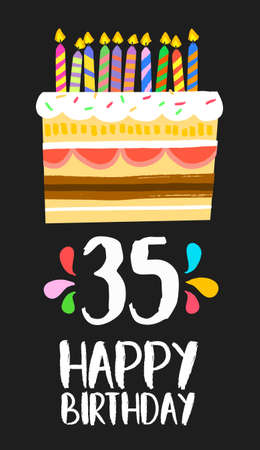 thirty five: Happy birthday number 35, greeting card for thirty five years in fun art style with cake and candles.
