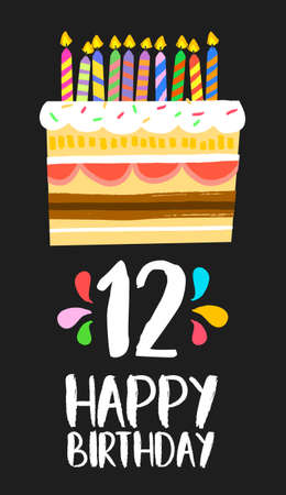 number 12: Happy birthday number 12, greeting card for twelve years in fun art style with cake and candles. Illustration