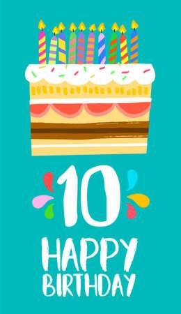 Feliz cumpleaños número 10, tarjeta de felicitación por diez años en el estilo del arte de la diversión con la torta y las velas.