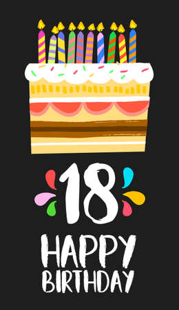 happy birthday 18: Happy birthday number 18, greeting card for eighteen years in fun art style with cake and candles.