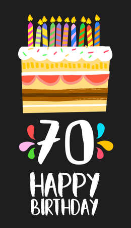 seventieth: Happy birthday number 70, greeting card for seventy years in fun art style with cake and candles. Illustration