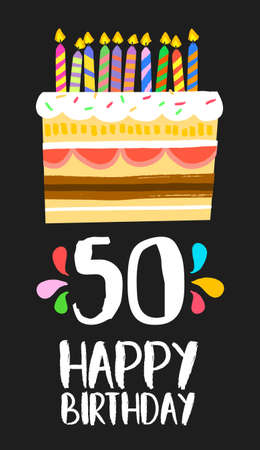Happy birthday number 50, greeting card for fifty years in fun art style with cake and candles. Illustration