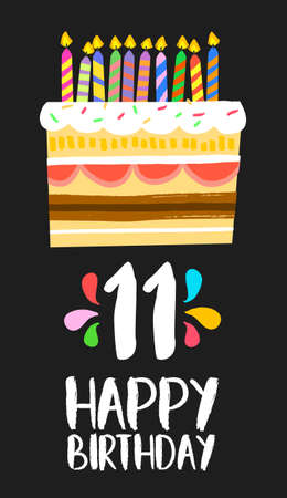 eleventh: Happy birthday number 11, greeting card for eleven years in fun art style with cake and candles.