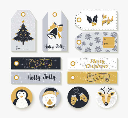 cute bear: Set of vintage style christmas tags, labels and badge for holiday season with cute animal winter decoration.
