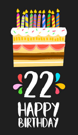 second birthday: Happy birthday number 22, greeting card for twenty two years in fun art style with cake and candles. Illustration