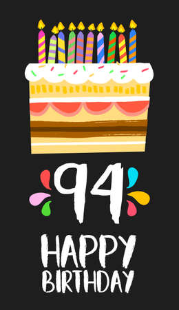 ninety: Happy birthday number 94, greeting card for ninety four years in fun art style with cake and candles. Illustration