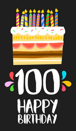 Happy birthday number 100, greeting card for one hundred years in fun art style with cake and candles.