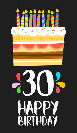 Happy birthday number 30, greeting card for thirty years in fun art style with cake and candles.