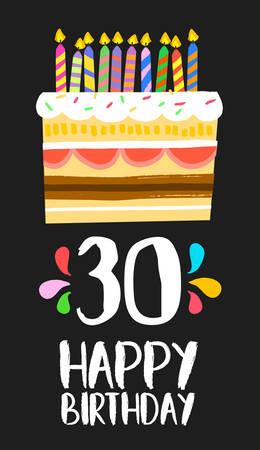 Numéro Joyeux anniversaire 30, carte de voeux depuis trente ans dans le style d'amusement d'art avec un gâteau et des bougies. Banque d'images - 67977015