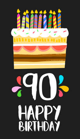 ninety: Happy birthday number 90, greeting card for ninety years in fun art style with cake and candles.