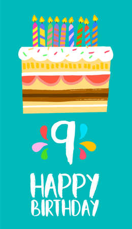 ninth birthday: Happy birthday number 9, greeting card for nine years in fun art style with cake and candles.