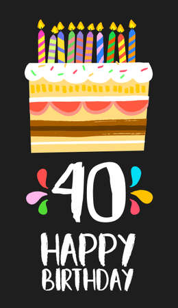 Happy birthday number 40, greeting card for forty years in fun art style with cake and candles. Ilustrace