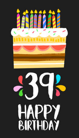ninth birthday: Happy birthday number 39, greeting card for thirty nine years in fun art style with cake and candles.