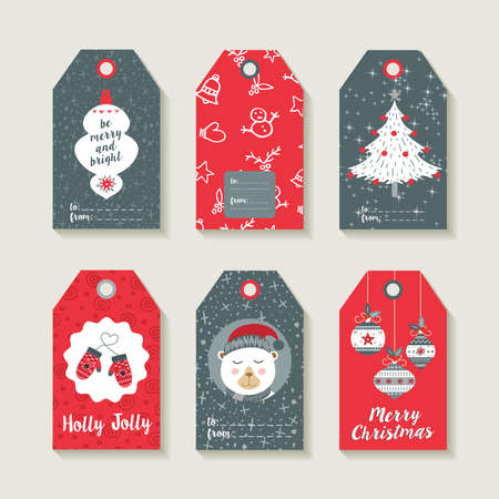 Christmas set of gift labels and tags with illustrations of cute winter decoration.